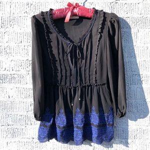 Hazel Long-Sleeve Embroidered Blouse Black Size S
